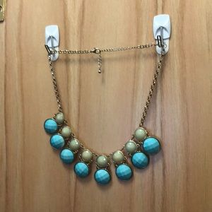 Blue Teal Gold Statement Necklace